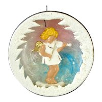 German Glass Angel Violin Diorama Scene Christmas Ornament
