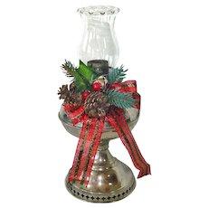 1905 Rayo Kerosene Lamp Base Decorated for Christmas
