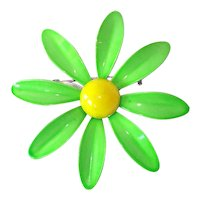 Green Yellow Daisy Flower Enameled Brooch Pin