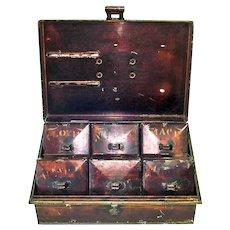 1800s Kreamer Japanned Metal Spice Box