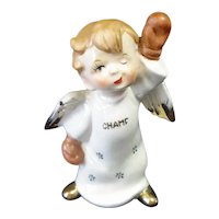 Little Boy Boxing Champ Angel Figurine 1950s