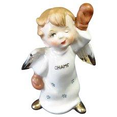Little Boy Boxing Champ Angel Figurine 1950s
