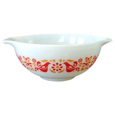Pyrex Friendship Red Birds 2.5 Quart Cinderella Mixing Bowl