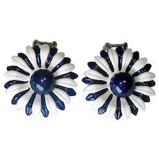 Mod Navy White Enamel Daisy Flower Clip Earrings