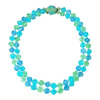 Icy Blues Greens Faceted Western Germany 2 Strand Necklace