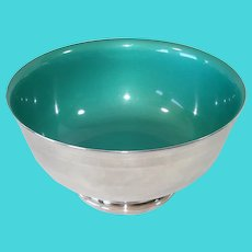 Reed and Barton Silverplate Teal Green Enamel 9 Inch Bowl