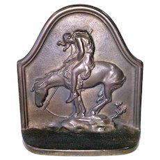 Cast Iron 1929 Last Trail Native American Bookend