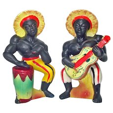 Blackamoor Musicians Ceramic Salt Pepper Shakers