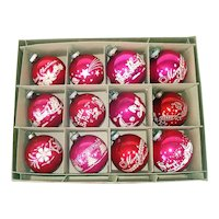 Box Shiny Brite Stencil Scene Glass Christmas Ornaments