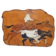 Cowboy Roping Steer Tooled Leather Wall Art Picture
