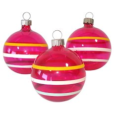 Shiny Brite Unsilvered WWII Glass Christmas Ornaments
