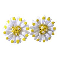 White Yellow Daisies Enameled Clip On Earrings