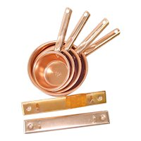 1960s Pink Aluminum Measuring Cups Set With Wall Hangers