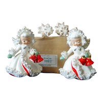 Holt Howard Ermine Spaghetti Angels Christmas Candle Holders Box Set