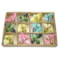 Box Chenille Glass Birds Christmas Ornaments 1950s Japan