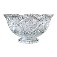Imperial Whirling Star Pressed Glass Punch Bowl