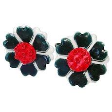 Enameled Metal Red White Blue Flower Clip Earrings