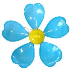 Blue Yellow Enameled Metal Flower Pin Brooch