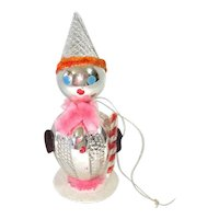 Japan Glass Chenille Whimsy Clown Christmas Ornament
