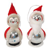 Pair Japan Whimsy Glass Chenille Santa Christmas Ornaments