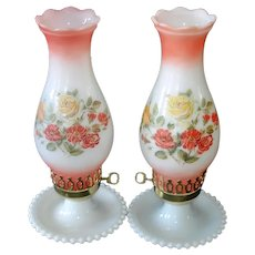 Pair Electric Pink Yellow Roses Hurricane Style Boudoir Table Lamps