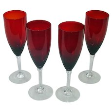 Set 4 Tall Ruby Fluted Champagne Goblets
