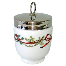 Royal Worcester Christmas Holly Ribbons Double Egg Coddler