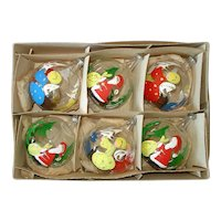 Box Italian Painted Santa, Angel Bubble Glass Christmas Ornaments
