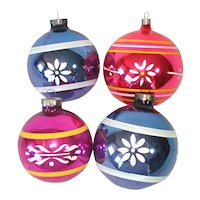 1930s USA Large Painted Glass Christmas Ornaments