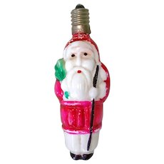 Santa Claus Working Figural Milk Glass Christmas Light Bulb