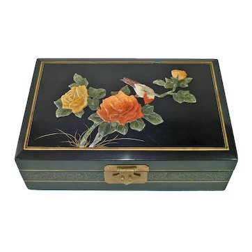 Asian Lacquered Jewelry Box Soapstone Roses Decoration