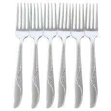 Jennifer Oneida 6 Silverplate Dinner Forks 1959