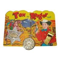 Tex The Ranger 1950s Cowboy Toy Play Set on Original Card
