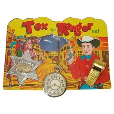 Tex The Ranger 1950s Cowboy Toy Play Set on Original Card