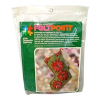 Feltpoint Poinsettia Christmas Stocking Needlework Stitchery Kit