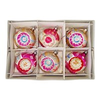 Box Poland Pink Gold Flower Indent Christmas Ornaments
