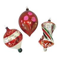 West German Apple Core, Parachute Glass Christmas Ornaments