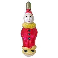 Clown on Ball Milk Glass Figural Christmas Light Bulb