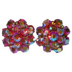 Red Aurora Rhinestone Cluster Clip Earrings