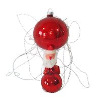 Glass Balloon Christmas Ornament With Chenille Santa Rider