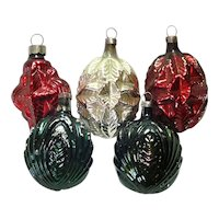 Germany 1930s Organic Shapes Glass Christmas Ornaments