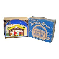 Glolite 1950s Lighted Christmas Nativity Scene Display in Original Box