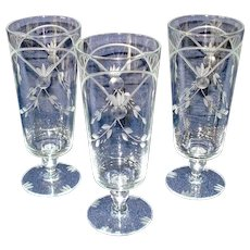 Lotus 1930s Deco Gray Cut Ice Tea Goblets Tumblers