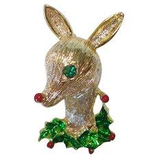 Gerrys Rudolph Reindeer Christmas Pin or Brooch