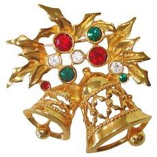 Christmas Bells Avon Goldtone Rhinestone Brooch Pin