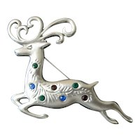 Leaping Reindeer Pewter Tone Christmas Brooch or Pin