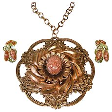 Goldstone and Copper Flower Medallion Necklace and Earrings