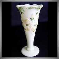 Early 1900s Hand Painted Milk Glass Pyramid With Flowers Vase