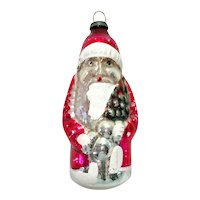 1930s Japan Santa With Tree Glass Christmas Ornament