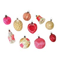 German 1930s Small Shapes Glass Christmas Ornaments